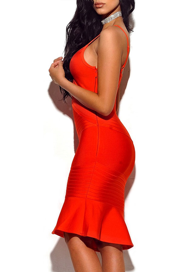 Orange Strapy Sleeveless Mini High Quality Bandage Dress